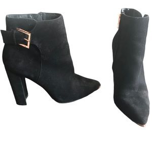 Ted Baker Maryne Black Suede Ankle Boots Sz 6